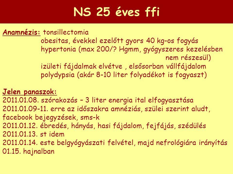 NS 25 éves ffi Anamnézis: tonsillectomia