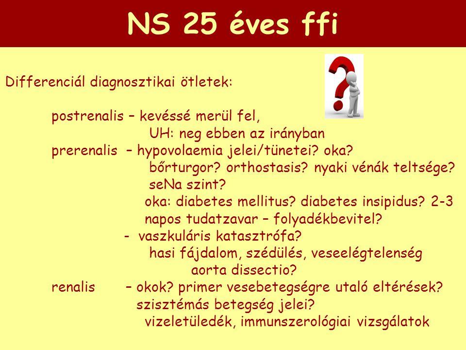 NS 25 éves ffi Differenciál diagnosztikai ötletek: