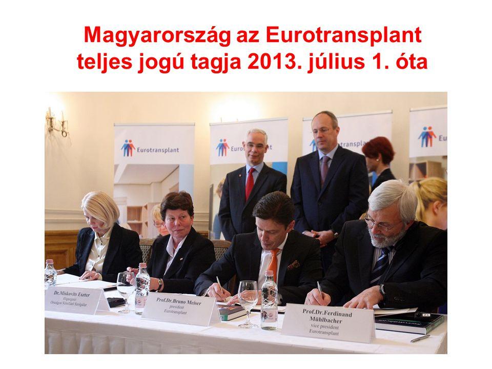 Magyarország az Eurotransplant teljes jogú tagja 2013. július 1. óta