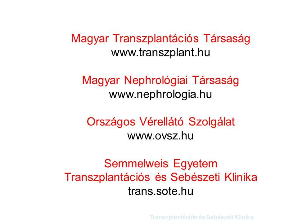 Magyar Transzplantációs Társaság www.transzplant.hu