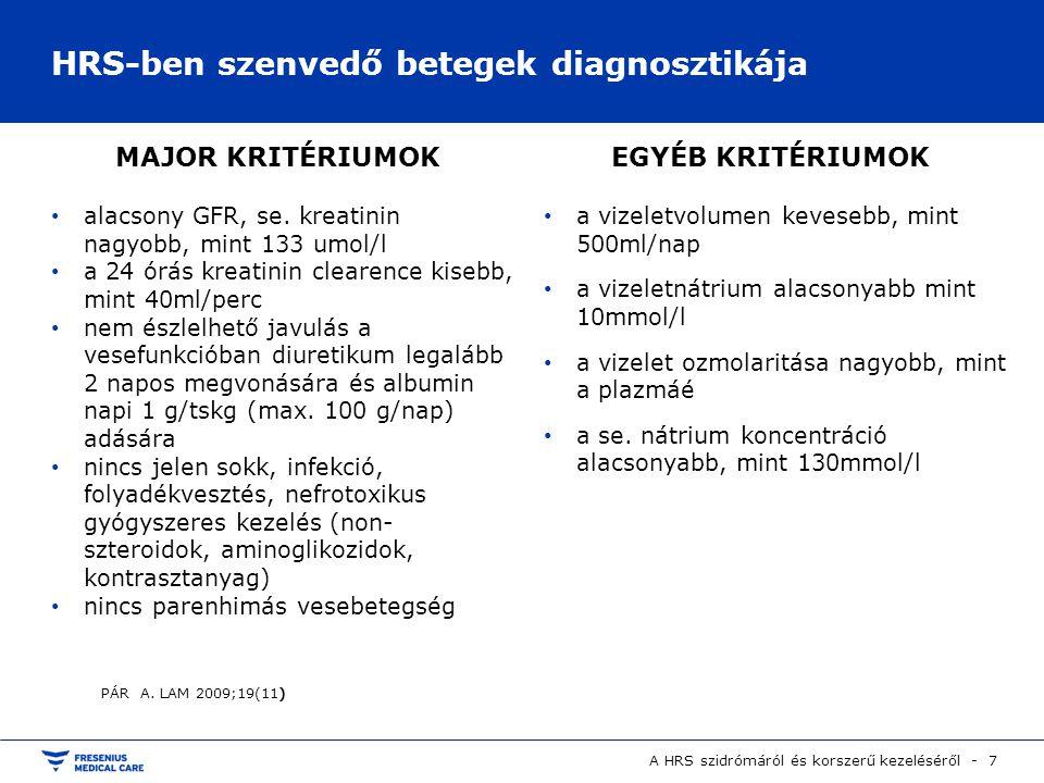 HRS-ben szenvedő betegek diagnosztikája