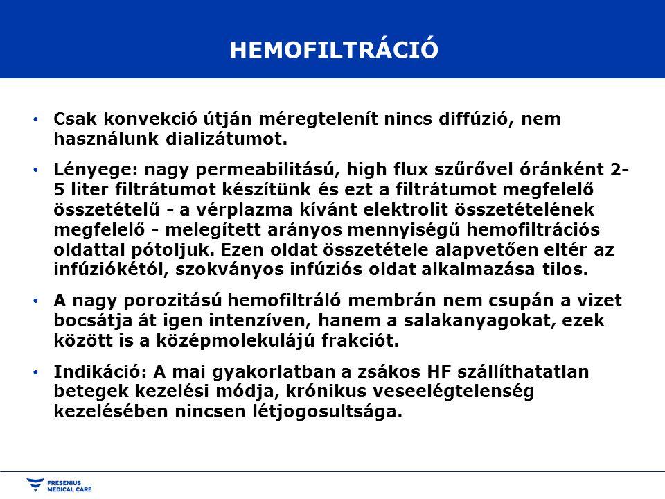 HEMOFILTRÁCIÓ Csak konvekció útján méregtelenít nincs diffúzió, nem használunk dializátumot.