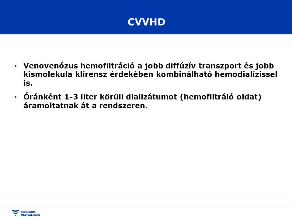 CVVHD Venovenózus hemofiltráció a jobb diffúzív transzport és jobb kismolekula klírensz érdekében kombinálható hemodialízissel is.