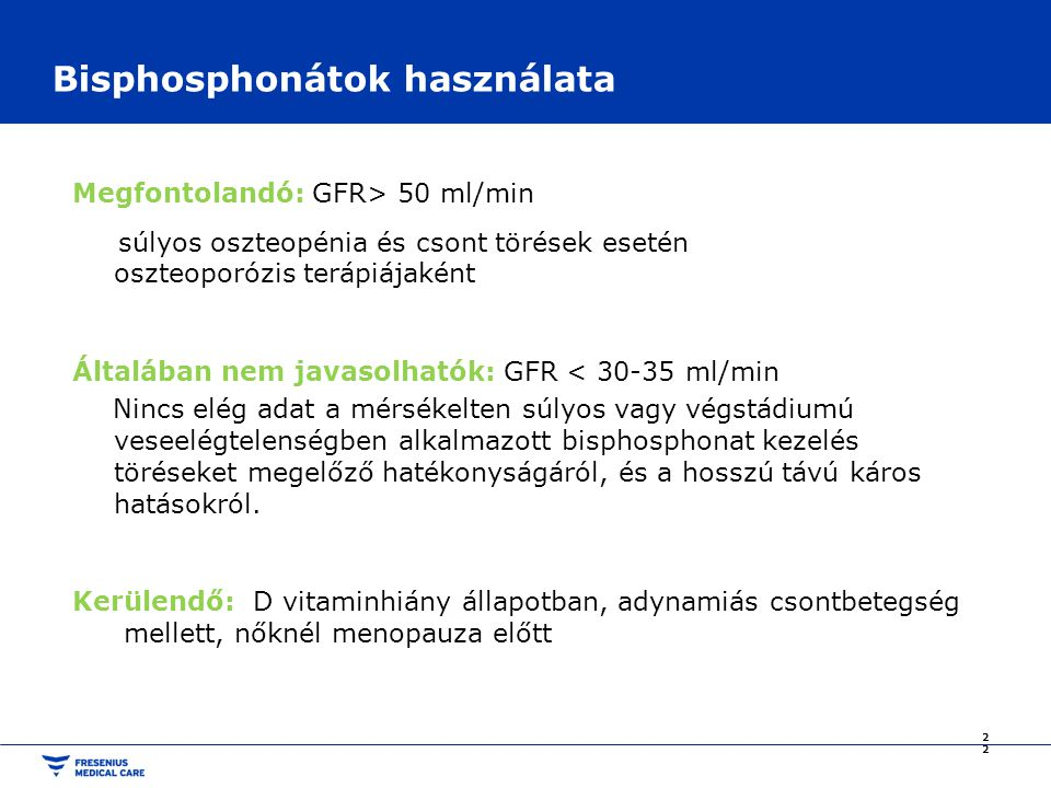 Bisphosphonátok használata