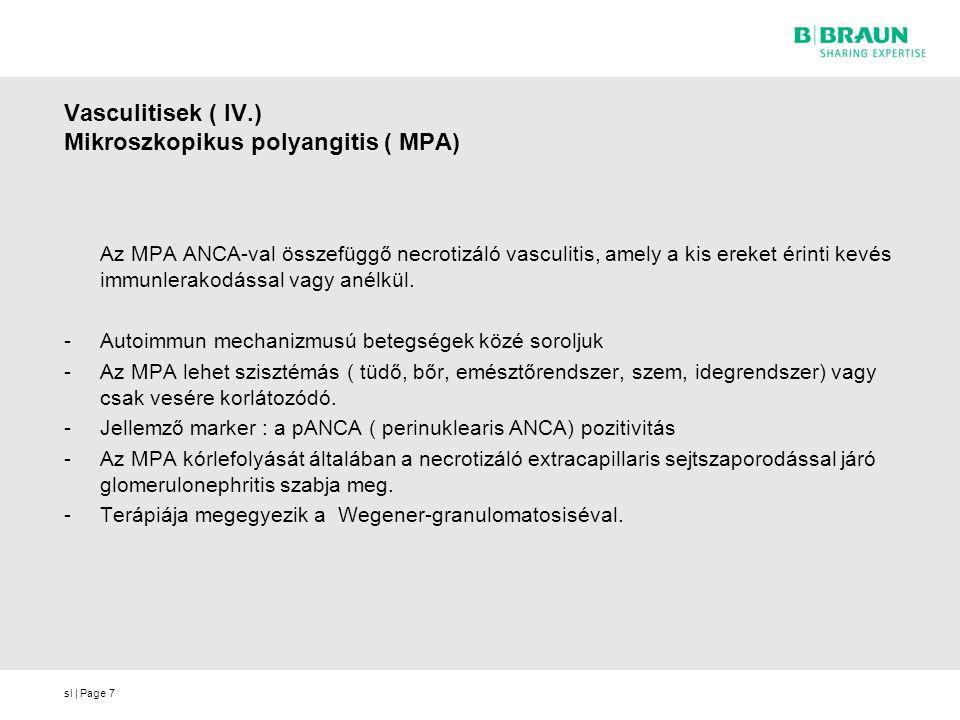 Vasculitisek ( IV.) Mikroszkopikus polyangitis ( MPA)