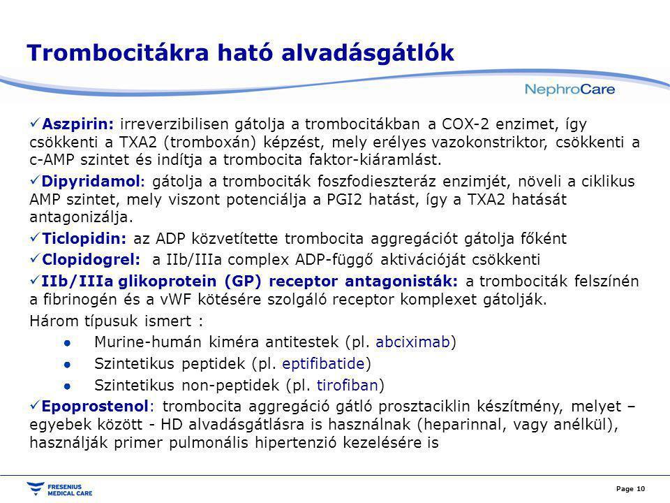 Trombocitákra ható alvadásgátlók