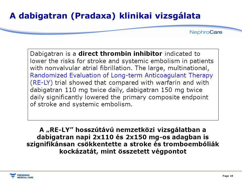 A dabigatran (Pradaxa) klinikai vizsgálata