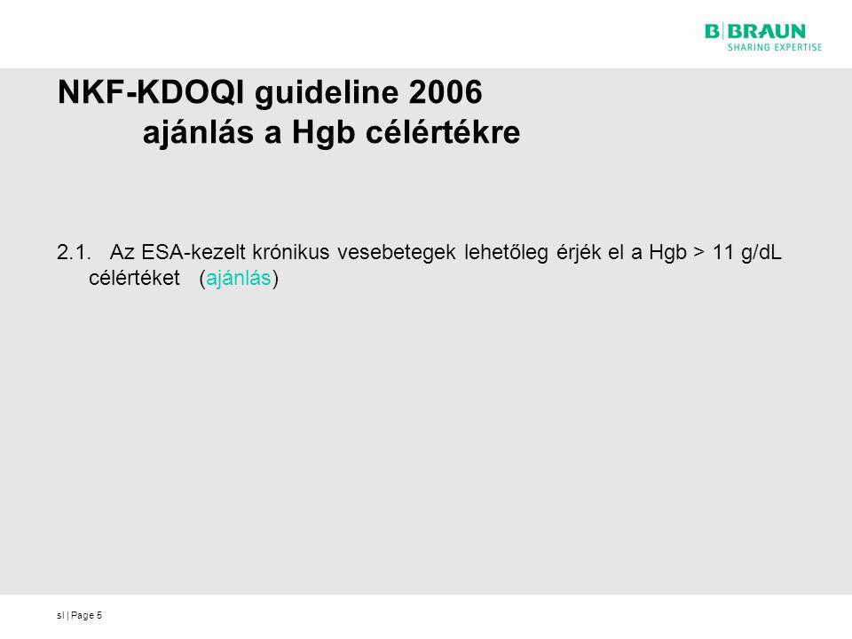 NKF-KDOQI guideline 2006 ajánlás a Hgb célértékre