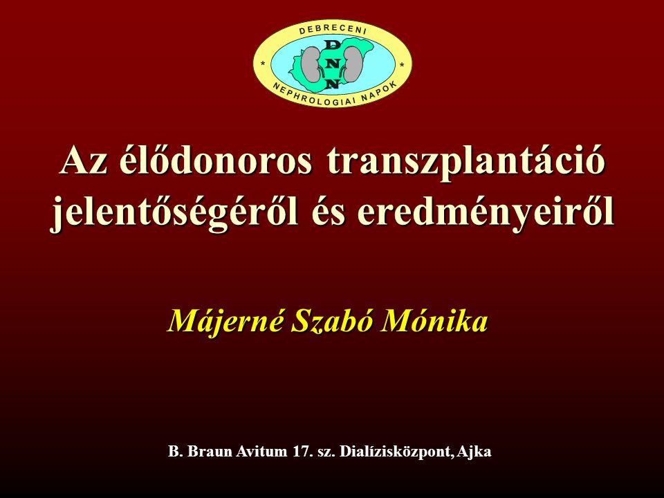 Az élődonoros transzplantáció jelentőségéről és eredményeiről