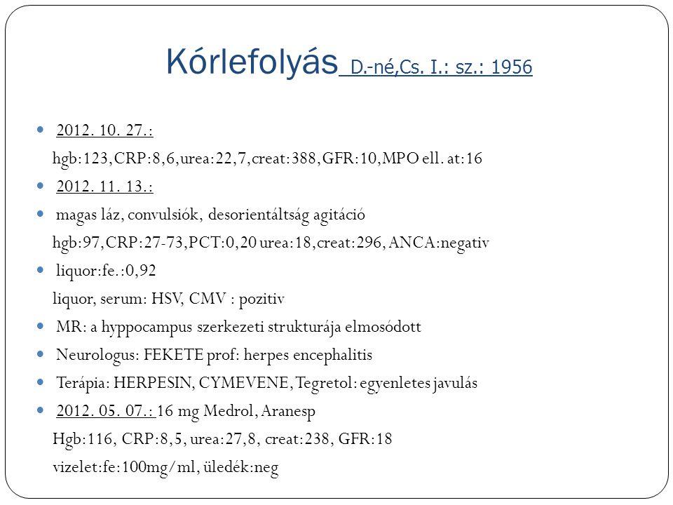 Kórlefolyás D.-né,Cs. I.: sz.: 1956
