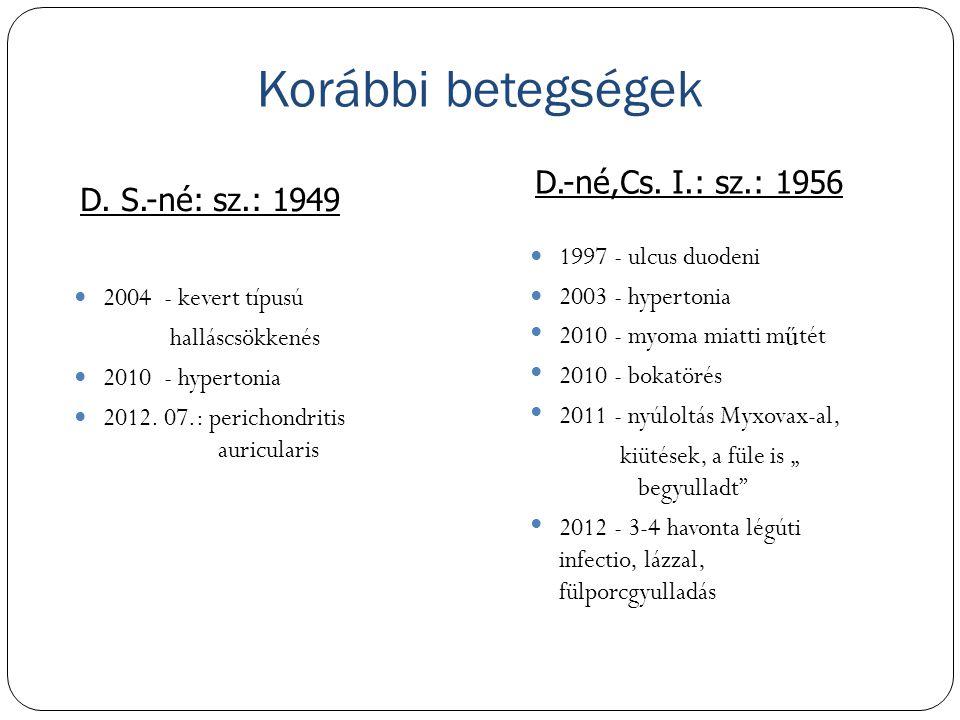 Korábbi betegségek D.-né,Cs. I.: sz.: 1956 D. S.-né: sz.: 1949