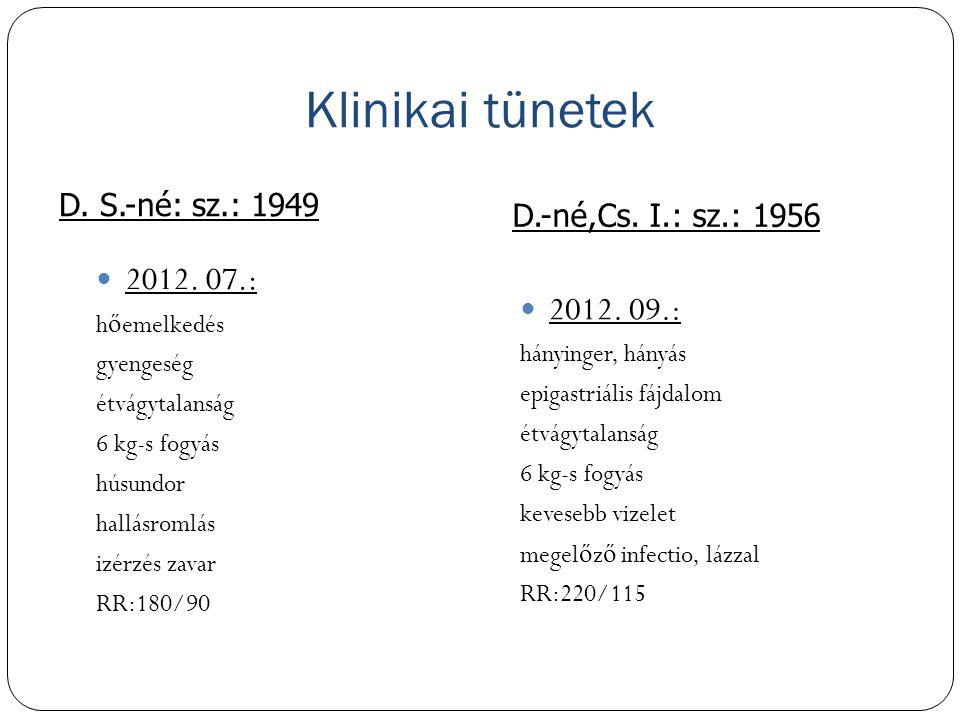 Klinikai tünetek 2012. 07.: 2012. 09.: D.-né,Cs. I.: sz.: 1956