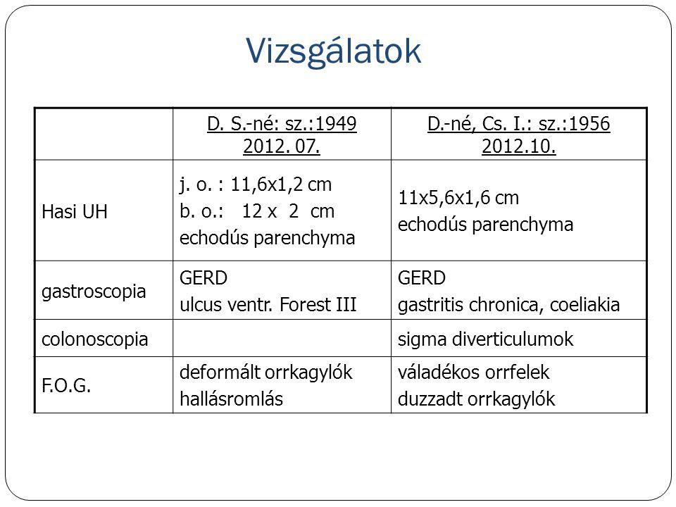 Vizsgálatok D. S.-né: sz.:1949 2012. 07. D.-né, Cs. I.: sz.:1956