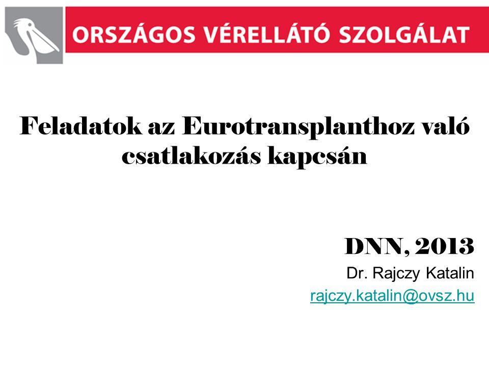 Feladatok az Eurotransplanthoz való csatlakozás kapcsán
