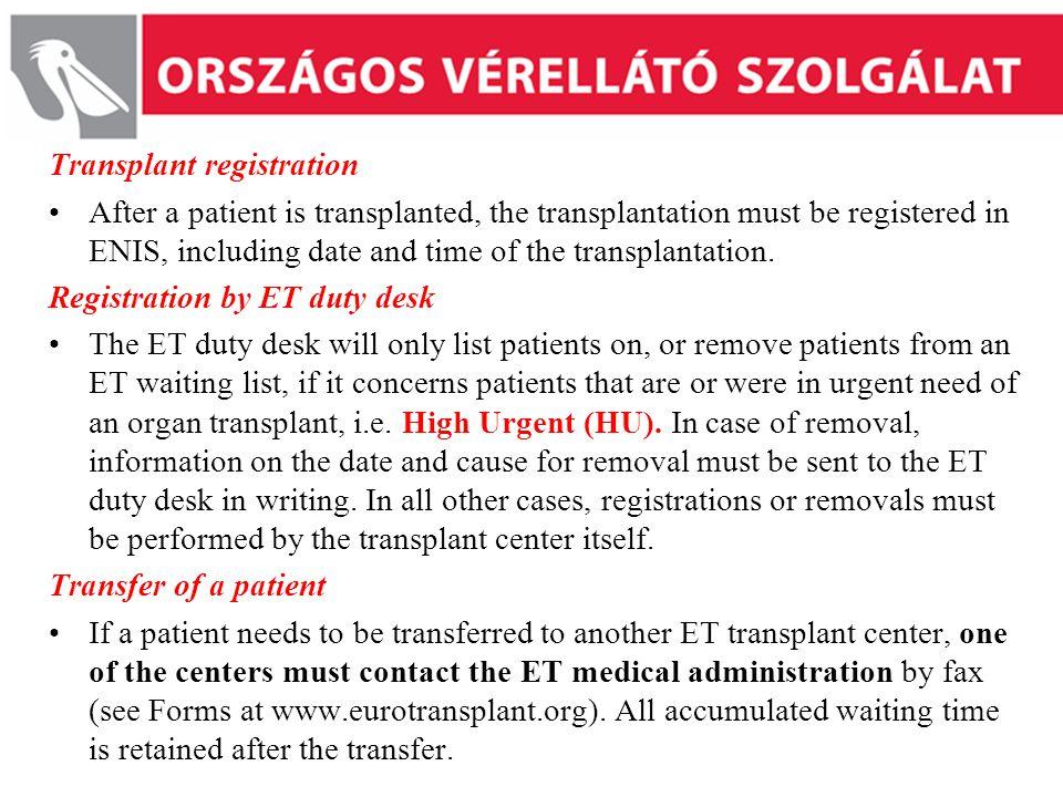 Transplant registration