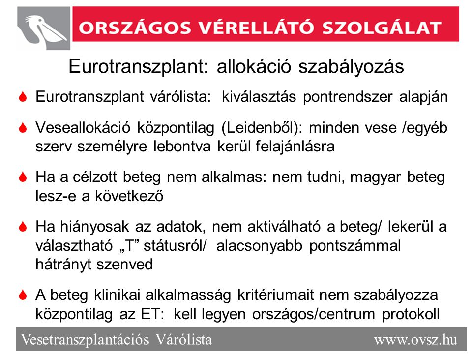 Eurotranszplant: allokáció szabályozás