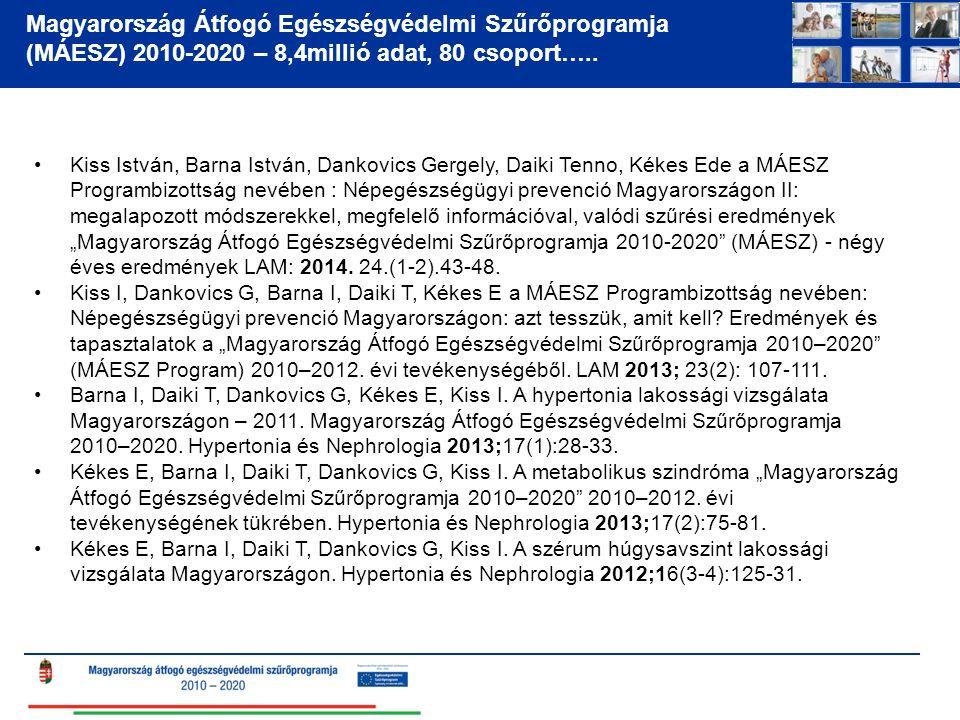 Magyarország Átfogó Egészségvédelmi Szűrőprogramja (MÁESZ) 2010-2020 – 8,4millió adat, 80 csoport…..