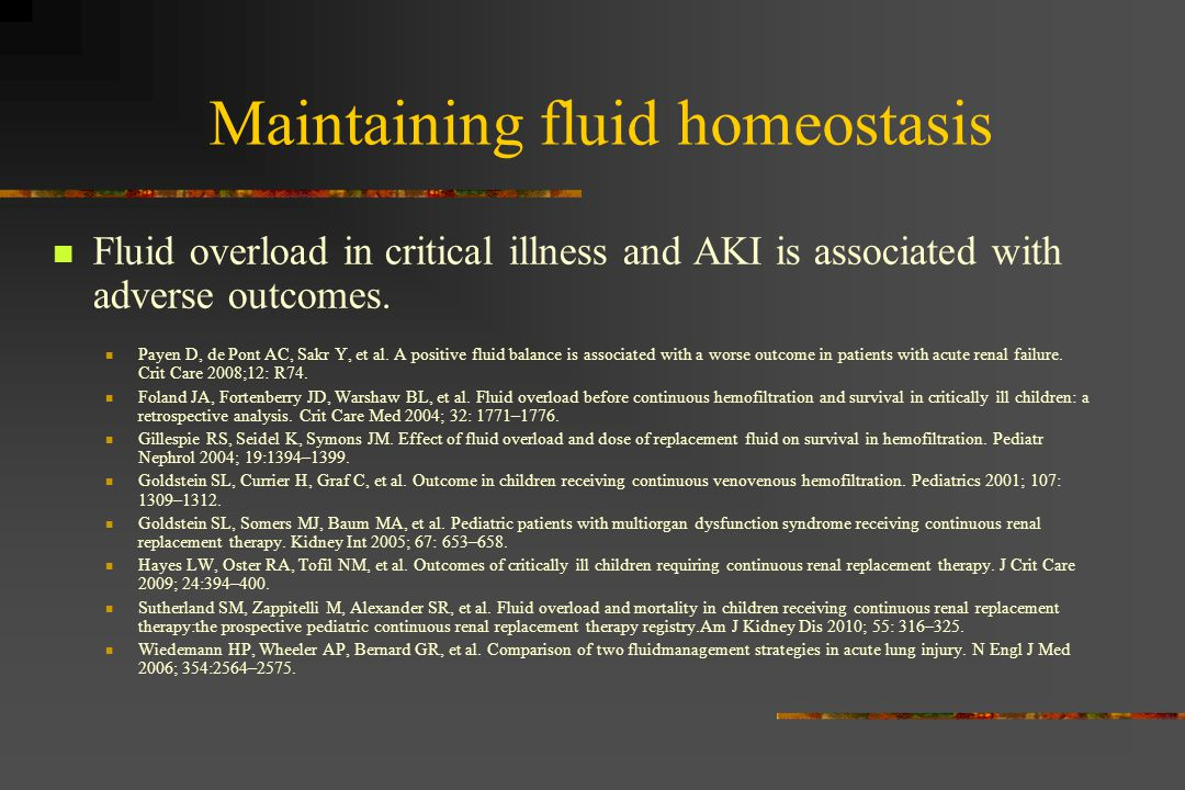 Maintaining fluid homeostasis