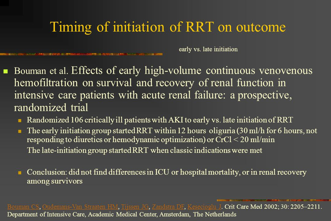 Timing of initiation of RRT on outcome