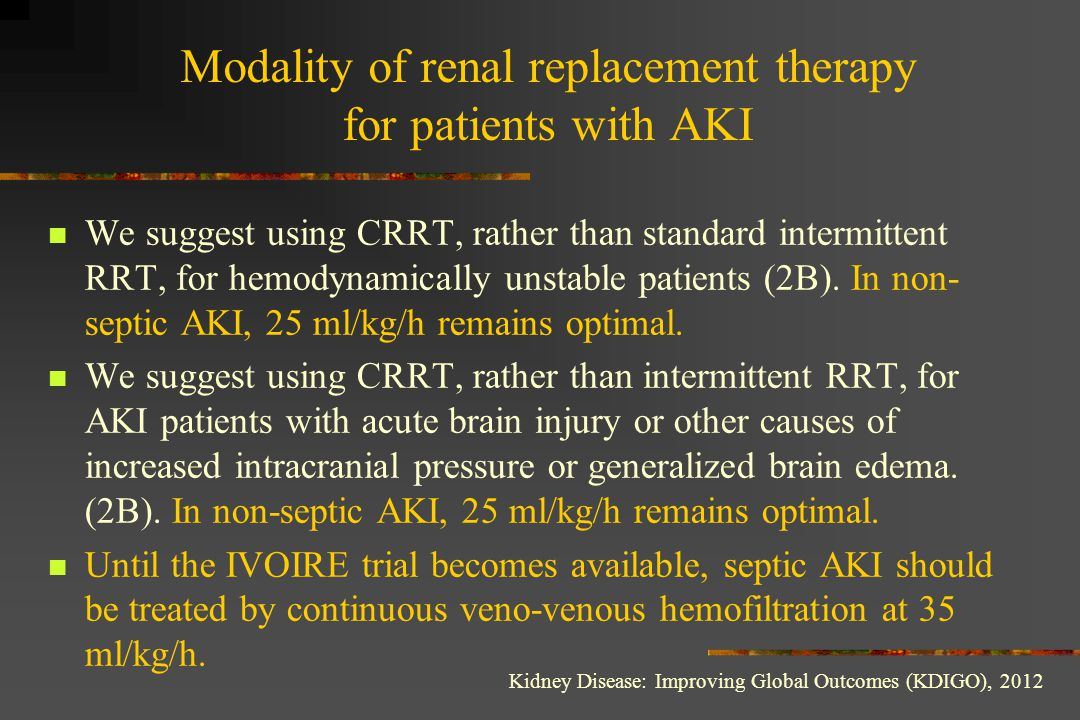 Modality of renal replacement therapy for patients with AKI