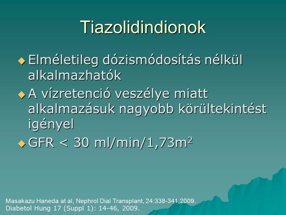 Tiazolidindionok Elméletileg dózismódosítás nélkül alkalmazhatók