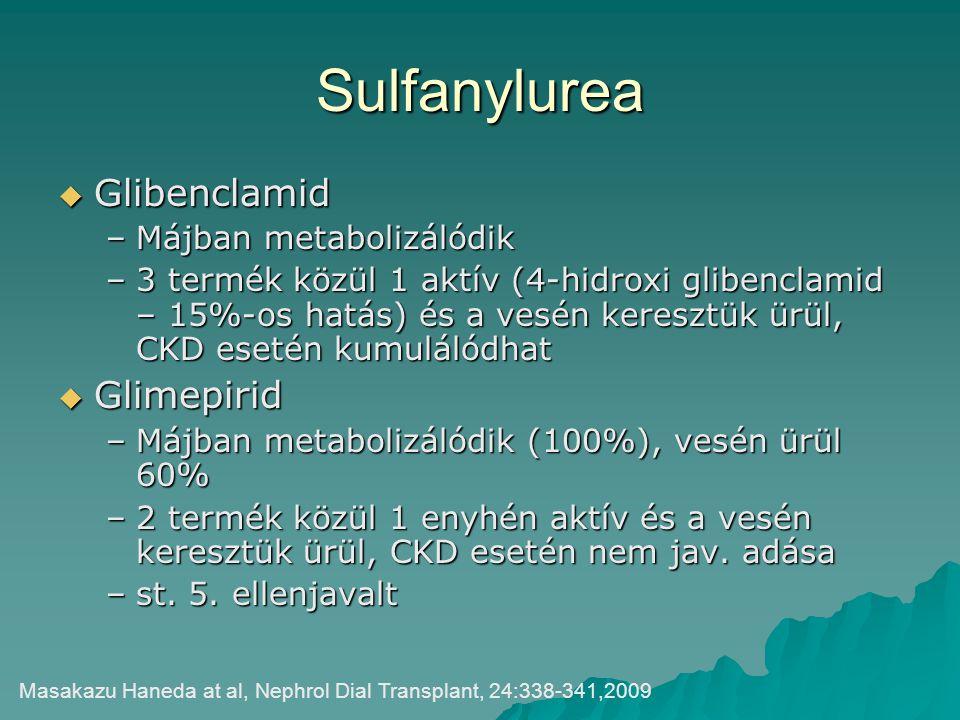 Sulfanylurea Glibenclamid Glimepirid Májban metabolizálódik
