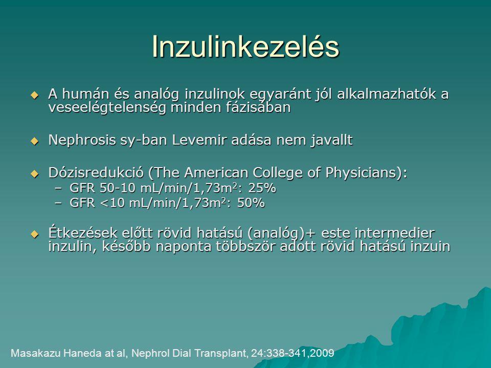 Inzulinkezelés A humán és analóg inzulinok egyaránt jól alkalmazhatók a veseelégtelenség minden fázisában.