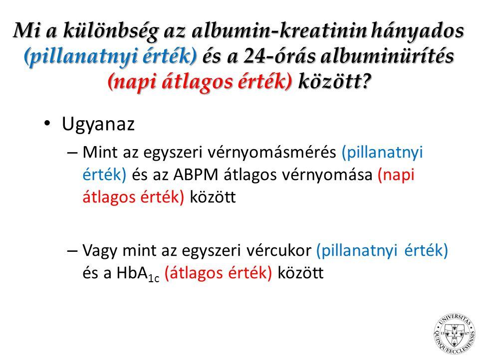 Mi a különbség az albumin-kreatinin hányados (pillanatnyi érték) és a 24-órás albuminürítés (napi átlagos érték) között