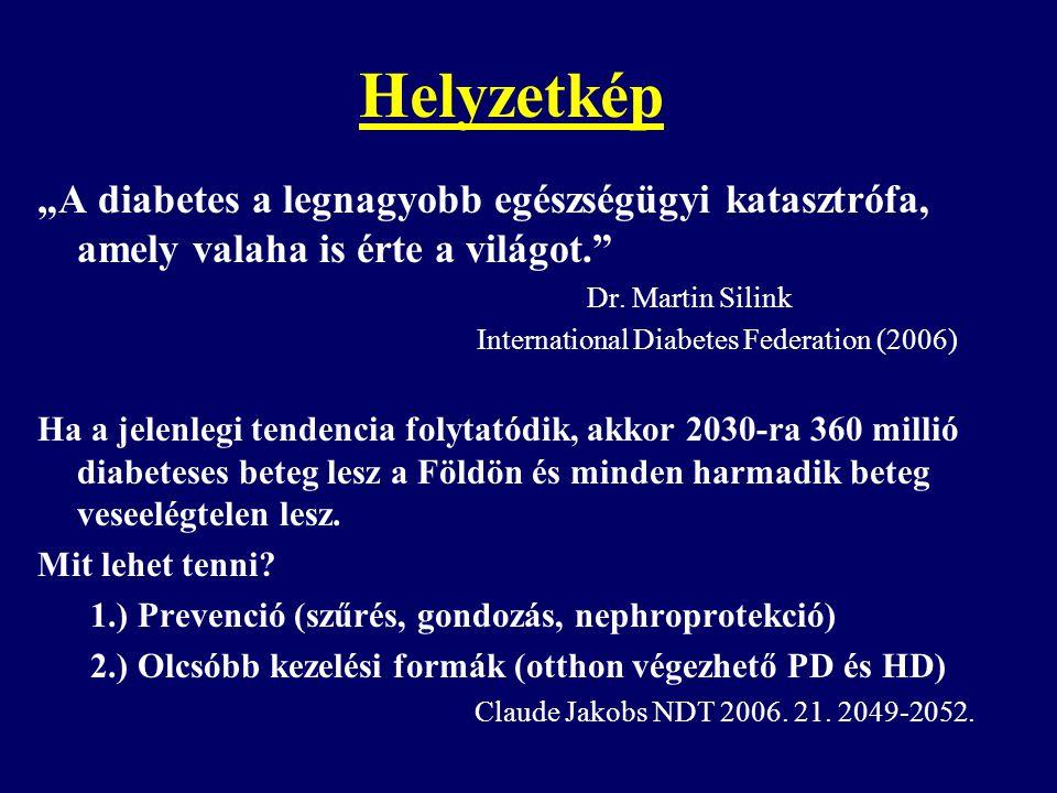 """Helyzetkép """"A diabetes a legnagyobb egészségügyi katasztrófa, amely valaha is érte a világot. Dr. Martin Silink."""