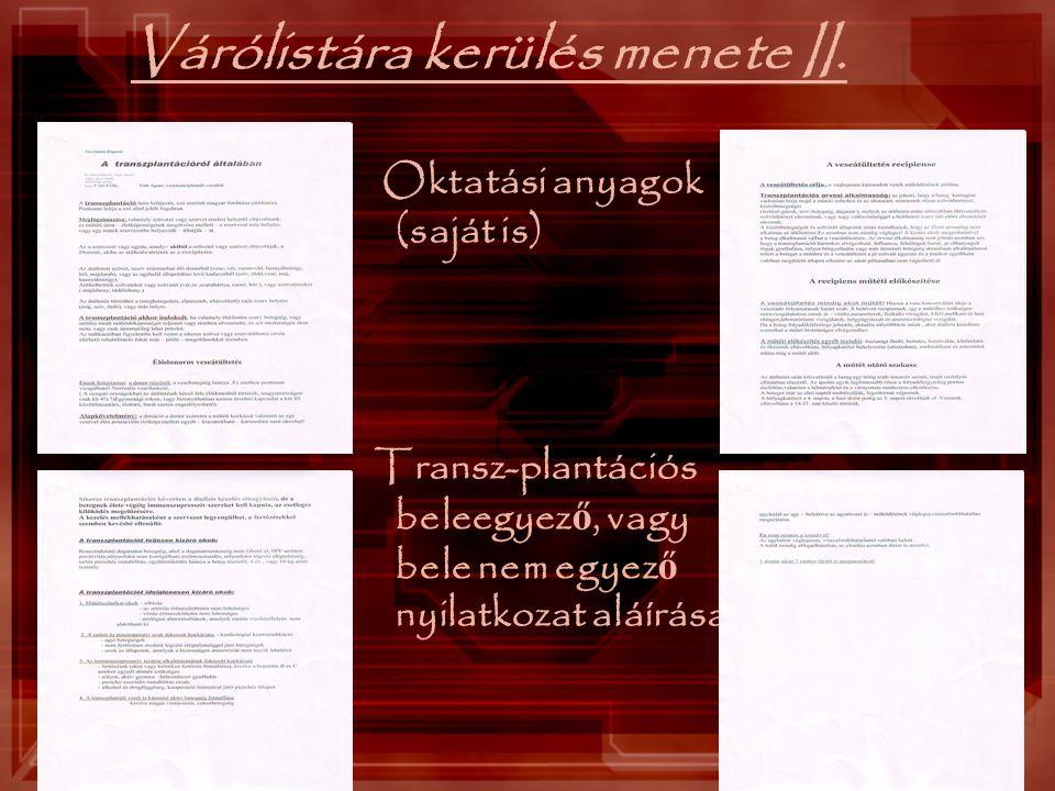 Várólistára kerülés menete II.