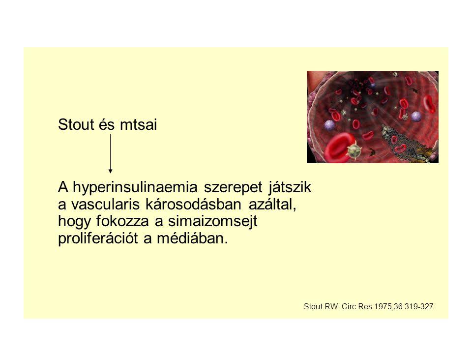 Stout és mtsai A hyperinsulinaemia szerepet játszik a vascularis károsodásban azáltal, hogy fokozza a simaizomsejt proliferációt a médiában.