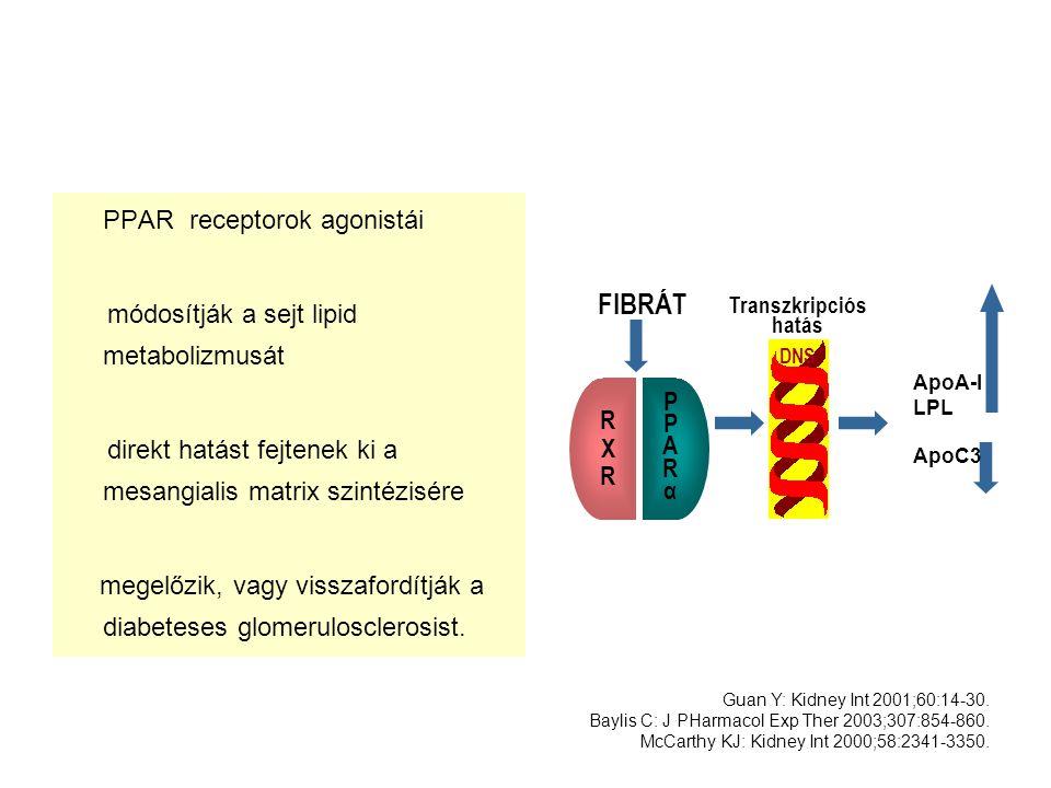 FIBRÁT PPAR receptorok agonistái