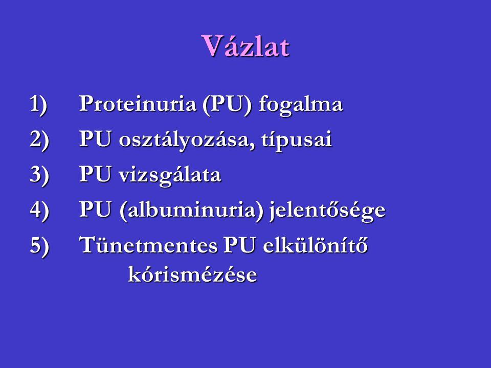 Vázlat 1) Proteinuria (PU) fogalma 2) PU osztályozása, típusai
