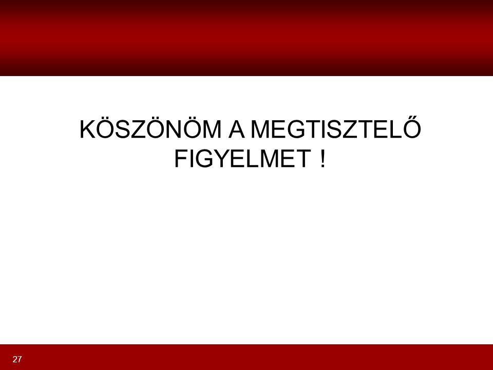KÖSZÖNÖM A MEGTISZTELŐ FIGYELMET !