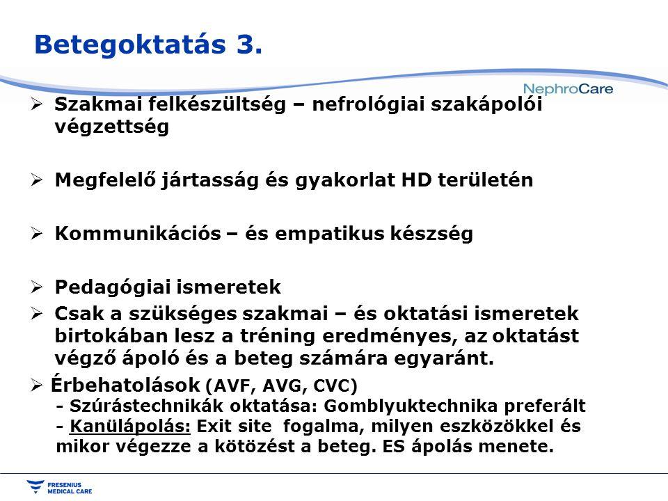 Betegoktatás 3. Szakmai felkészültség – nefrológiai szakápolói végzettség. Megfelelő jártasság és gyakorlat HD területén.