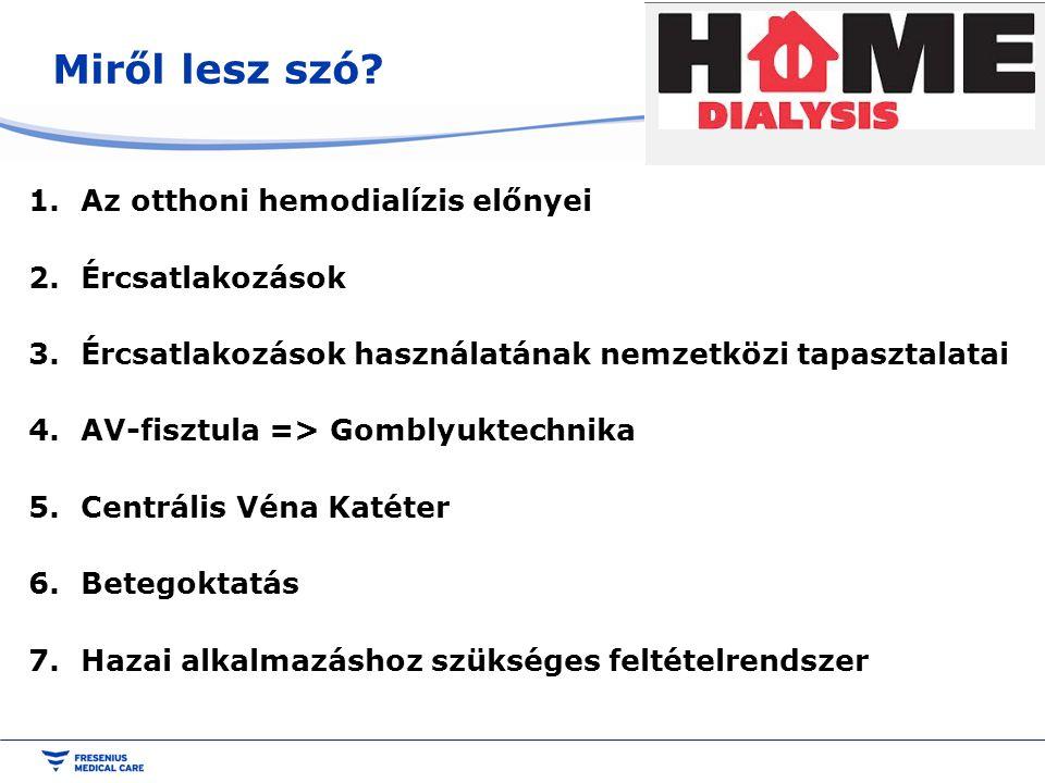 Miről lesz szó Az otthoni hemodialízis előnyei Ércsatlakozások