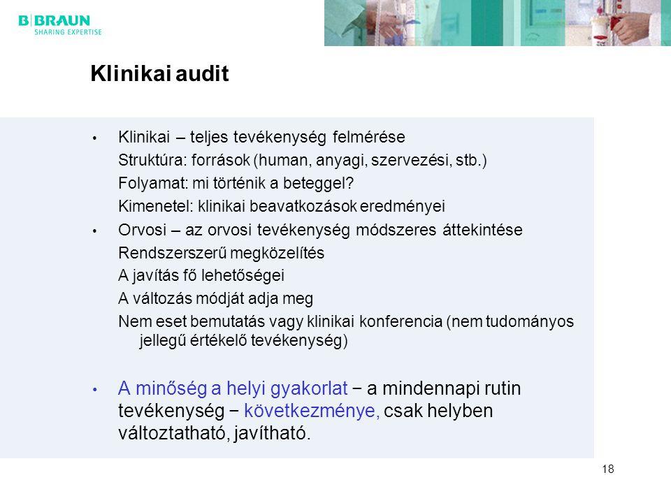 Klinikai audit Klinikai – teljes tevékenység felmérése. Struktúra: források (human, anyagi, szervezési, stb.)