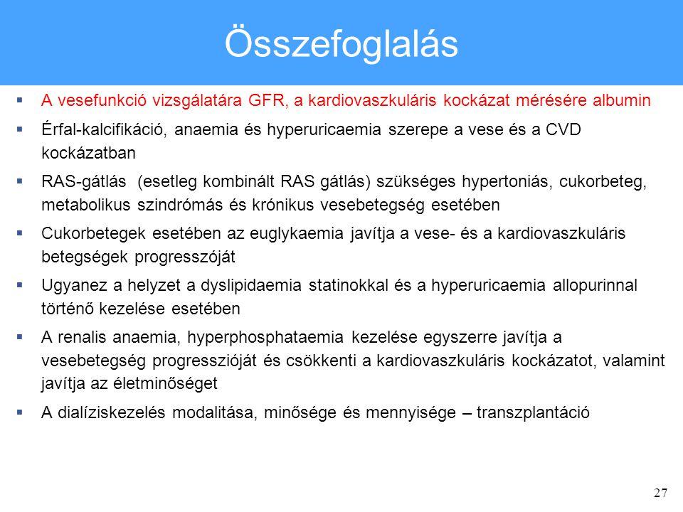 Összefoglalás A vesefunkció vizsgálatára GFR, a kardiovaszkuláris kockázat mérésére albumin.