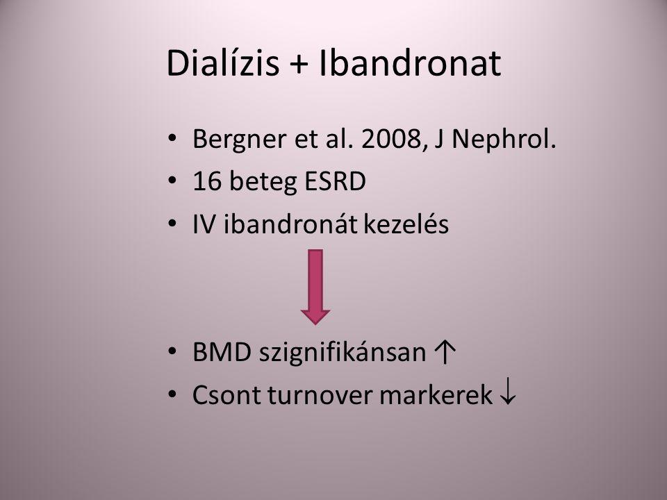 Dialízis + Ibandronat Bergner et al. 2008, J Nephrol. 16 beteg ESRD