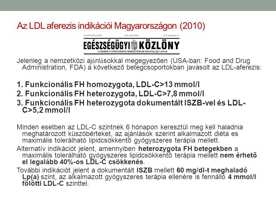Az LDL aferezis indikációi Magyarországon (2010)