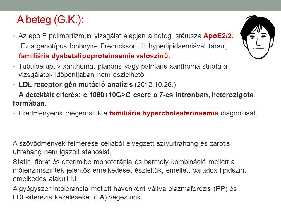 A beteg (G.K.): Az apo E polimorfizmus vizsgálat alapján a beteg státusza ApoE2/2.