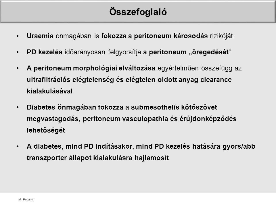 """Összefoglaló Uraemia önmagában is fokozza a peritoneum károsodás rizikóját. PD kezelés időarányosan felgyorsítja a peritoneum """"öregedését"""