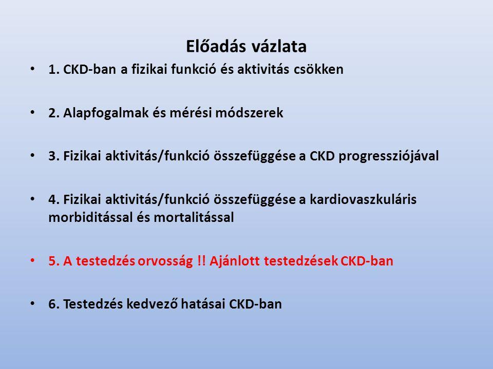 Előadás vázlata 1. CKD-ban a fizikai funkció és aktivitás csökken