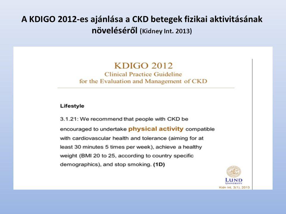 A KDIGO 2012-es ajánlása a CKD betegek fizikai aktivitásának növeléséről (Kidney Int. 2013)
