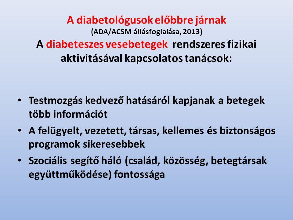 A diabetológusok előbbre járnak (ADA/ACSM állásfoglalása, 2013) A diabeteszes vesebetegek rendszeres fizikai aktivitásával kapcsolatos tanácsok: