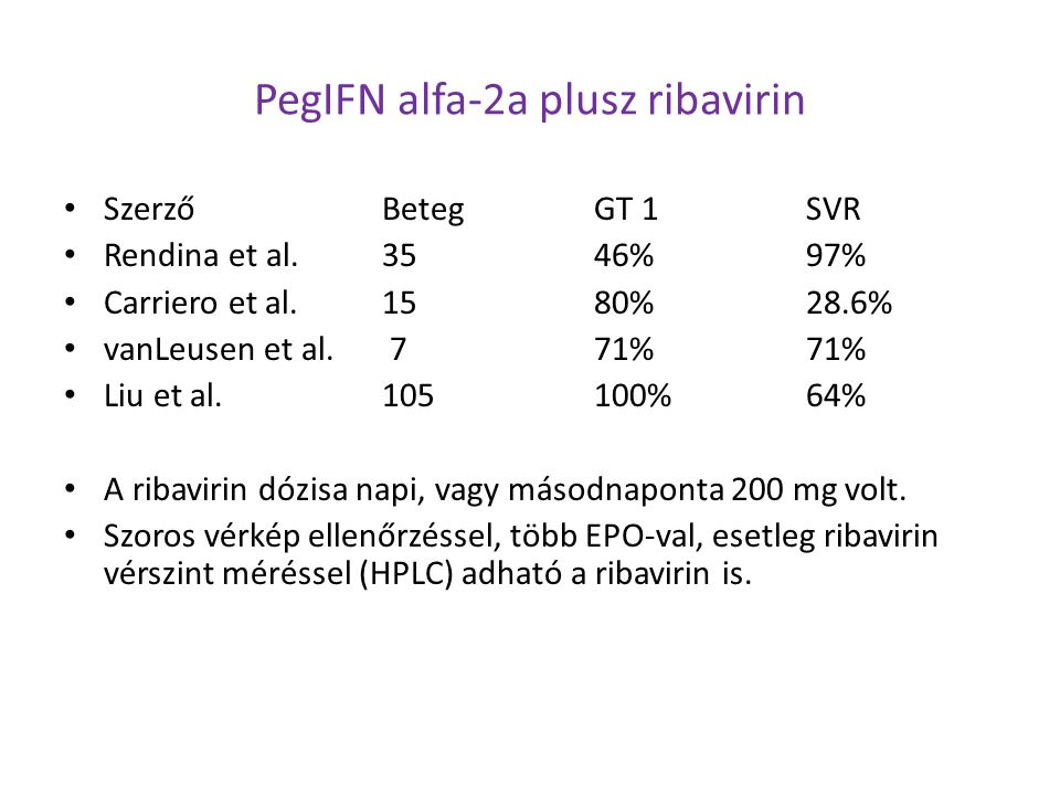 PegIFN alfa-2a plusz ribavirin