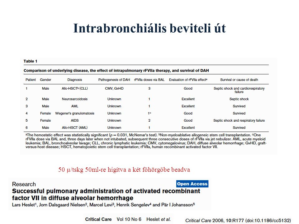 Intrabronchiális beviteli út