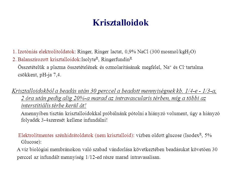Krisztalloidok 1. Izotóniás elektrolitoldatok: Ringer, Ringer lactat, 0,9% NaCl (300 mosmol/kgH2O)