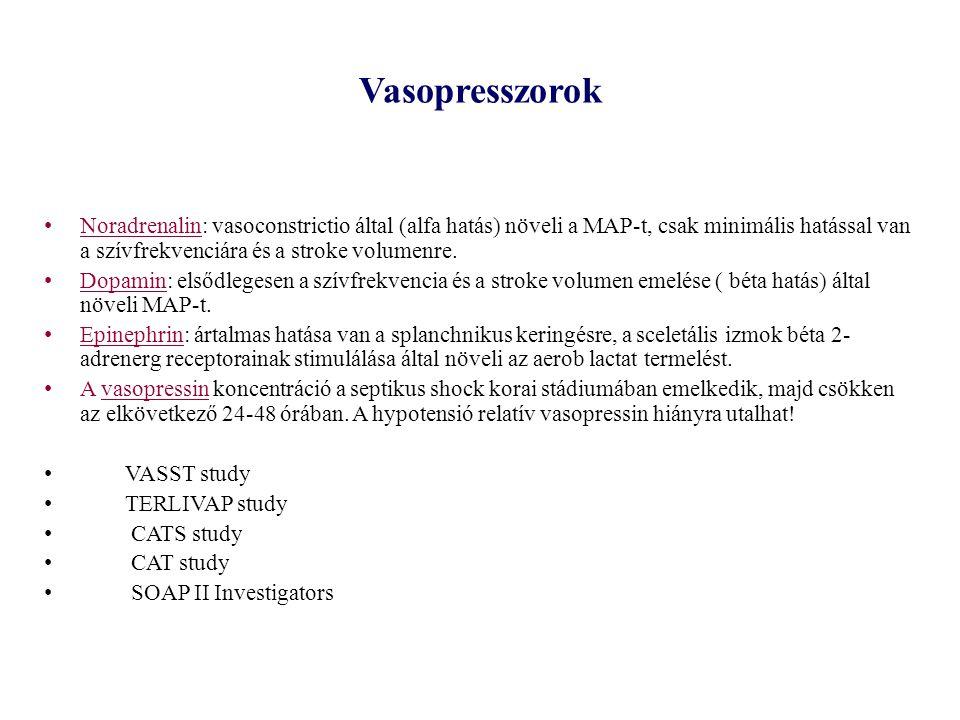 Vasopresszorok Noradrenalin: vasoconstrictio által (alfa hatás) növeli a MAP-t, csak minimális hatással van a szívfrekvenciára és a stroke volumenre.