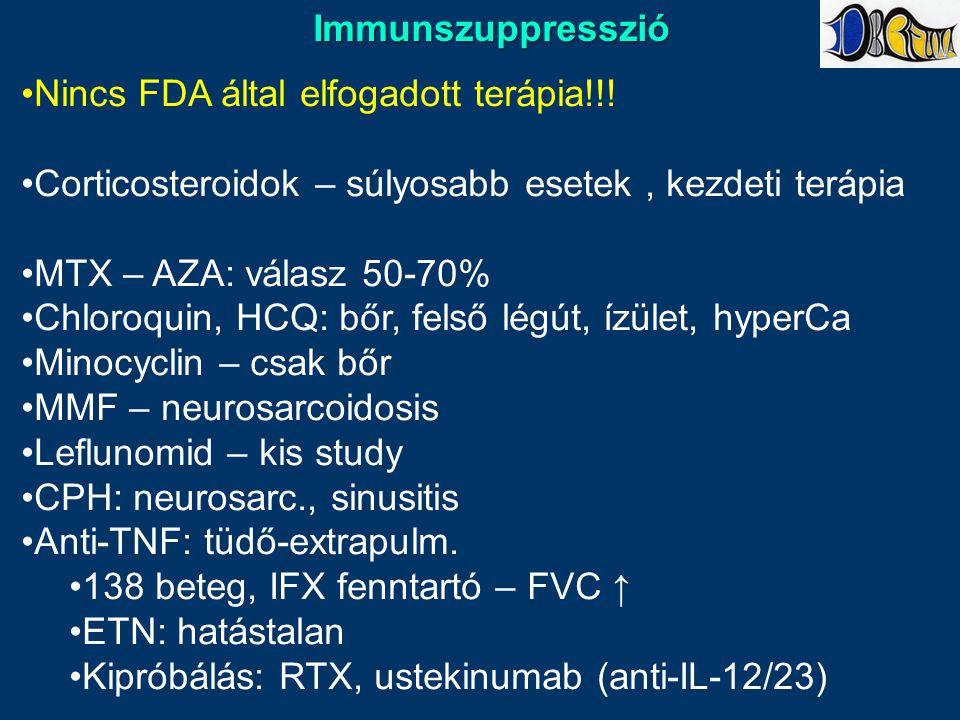Immunszuppresszió Nincs FDA által elfogadott terápia!!! Corticosteroidok – súlyosabb esetek , kezdeti terápia.